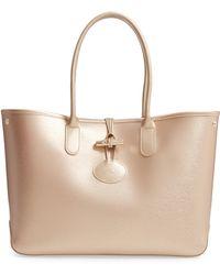 Longchamp - Roseau Metallic Leather Shoulder Tote - Lyst 7244af5fc6c55