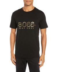 BOSS - Regular Fit Gold Logo T-shirt - Lyst