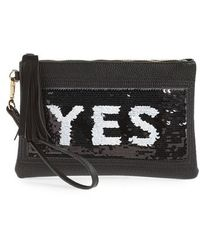 Shiraleah - Indecisive Reversible Sequin Faux Leather Clutch - - Lyst