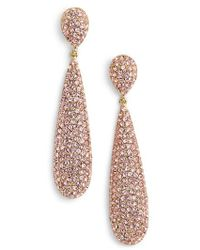 Nina - Elongated Pave Swarovski Crystal Teardrop Earrings - Lyst