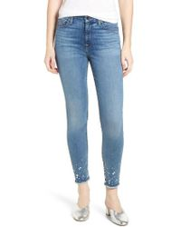 Jen7 - Embellished Hem Ankle Skinny Jeans - Lyst