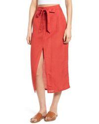 Billabong - Linen Blend Midi Skirt - Lyst
