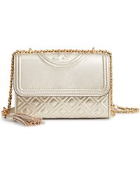 Tory Burch - Small Fleming Metallic Lambskin Leather Convertible Shoulder Bag - - Lyst