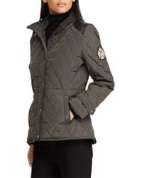 Lauren by Ralph Lauren - Quilted Faux Leather Trim Jacket - Lyst