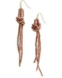 Panacea - Crystal Knot Tassel Earrings - Lyst