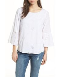 Vineyard Vines - Eyelet Bell Sleeve Cotton Top - Lyst