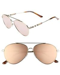 Burberry - 57mm Mirrored Aviator Sunglasses - Lyst