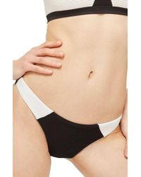 TOPSHOP | Ribbed Colorblock Bikini Bottoms | Lyst