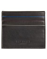 Ted Baker | Foxes Stripe Leather Foldover Card Case | Lyst