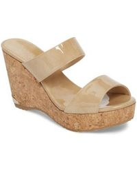 9dbaef0e6f59 Jimmy Choo Parker Two-band Cork Wedge Sandal in White - Lyst