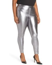 Hue - Plus Size Iridescent Metallic Denim Leggings (gunmetal) Women's Jeans - Lyst
