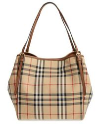 7d25adf51b3 Burberry - Small Canter Check & Leather Tote - - Lyst