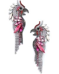 Elizabeth Cole - Crystal Parrot Earrings - Lyst
