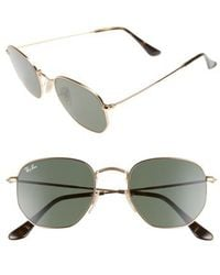 Ray-Ban - Icons 51mm Oval Aviator Sunglasses - Metal Gold/ Green - Lyst