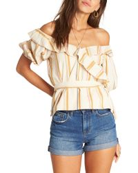 Billabong - Babes All Day Off The Shoulder Top - Lyst