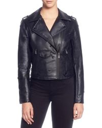 Catherine Malandrino - Star Stud Faux Leather Moto Jacket - Lyst