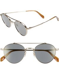 a43263e78227 Oliver Peoples - 49mm Brow Bar Aviator Sunglasses - Graphite Gold Mirror -  Lyst