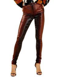 TOPSHOP - Joni Metallic Jeans - Lyst