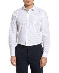 Bugatchi - Trim Fit Print Dress Shirt - Lyst