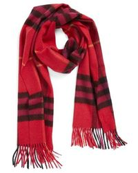 Burberry - Heritage Giant Check Fringed Cashmere Muffler - Lyst