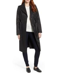 Via Spiga - Faux Leather Trim Trench Coat - Lyst