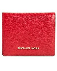 MICHAEL Michael Kors - Mercer Leather Rfid Card Holder - Lyst