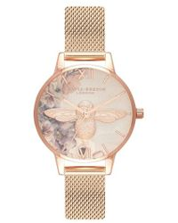 Olivia Burton - Watercolor Floral Mesh Strap Watch - Lyst