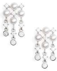 Mikimoto - Akoya Cultured Pearl & Diamond Earrings - Lyst