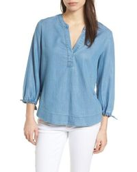 Vineyard Vines - Chambray Tie Sleeve Popover Top - Lyst
