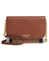 Burberry | Hampshire House Check & Leather Wallet On A Chain | Lyst