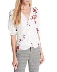 Joie - Anevy Floral Silk Top - Lyst