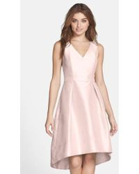Alfred Sung | Satin High/low Fit & Flare Dress | Lyst