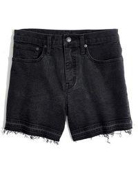 Madewell - High Waist Drop Hem Denim Shorts - Lyst