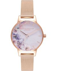 Olivia Burton - Watercolour Florals Mesh Strap Watch - Lyst