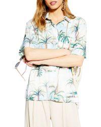 TOPSHOP Hawaiian Print Bowler Shirt