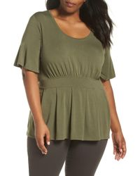 Sejour - Gathered Waist Knit Top - Lyst