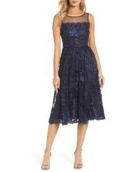Adrianna Papell - Lace Tea Length Dress - Lyst