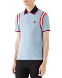 84f346936 Lyst - Gucci Jacquard Stripe Sleeve Pique Polo in Blue for Men