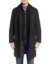 Cole Haan - Wool Blend Overcoat With Knit Bib Inset - Lyst