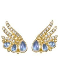Temple St. Clair - Temple St. Clair Object Trouve Diamond Moonstone Earrings - Lyst