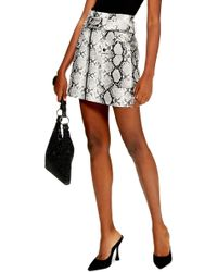 TOPSHOP - Belted Faux Leather Snake Print Miniskirt - Lyst