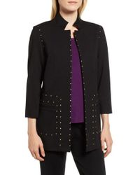 Ming Wang - Studded Ponte Jacket - Lyst