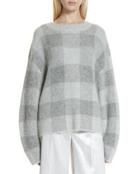 Vince - Checked Fine-knit Jumper - Lyst