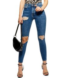 TOPSHOP - Jamie Ripped High Waist Skinny Jeans - Lyst