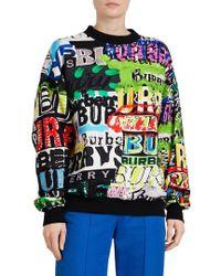 Burberry - Aner Graffiti Logo Cotton Jersey Sweatshirt - Lyst