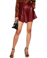 TOPSHOP - High Waist Leather Shorts - Lyst