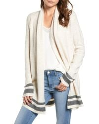 Cupcakes And Cashmere - Hank Stripe Shawl Collar Cardigan - Lyst