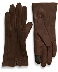 Frye Topstitched Leather Touchscreen Gloves - Brown