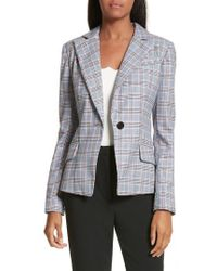 MILLY - Check Suiting Belted Blazer - Lyst