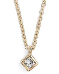 Zoe Chicco - Princess Diamond Pendant Necklace - Lyst